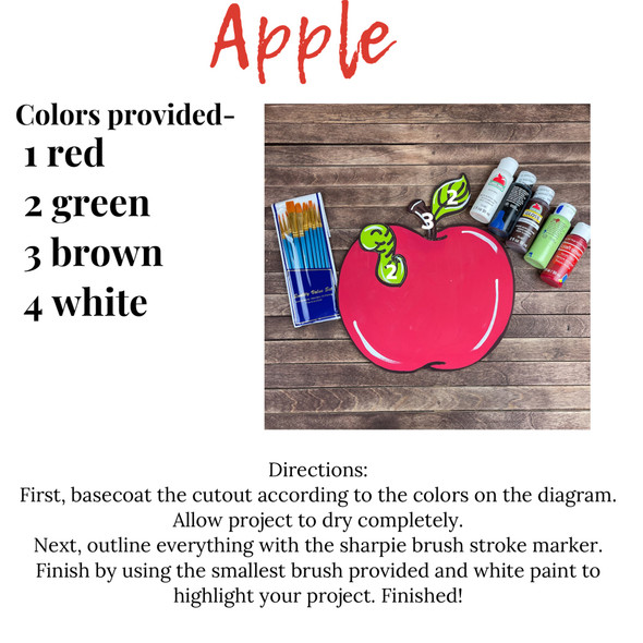Apple with Worm Paint Kit, Video Tutorial and Instructions