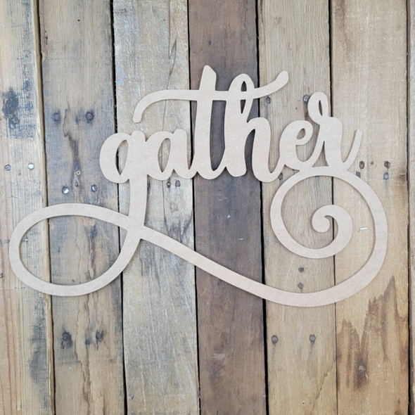 Gather, Unfinished Wooden Connected Word, Alphabet Paintable DIY