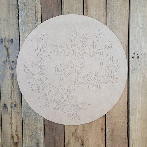 Thankful & Blessed Circle, Wood Cutout, Shape, Paint by Line