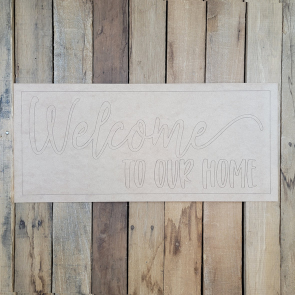 Welcome To Our Home, Paint By Line, Rectangle design