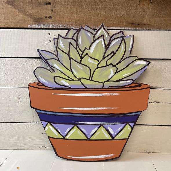 Succulent Flowers in Unique Pot Design, Wood Cutout, Paint by Line