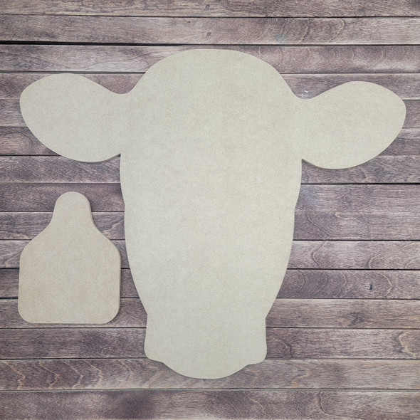 Cow Head With Cattle Tag 2 Piece Set, Unfinished Wood Cutouts