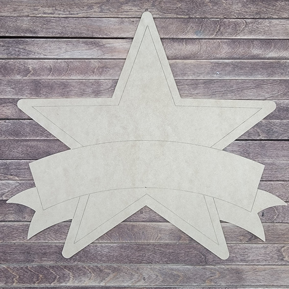 Star With Banner, Paint by Line, Wood Craft Cutout