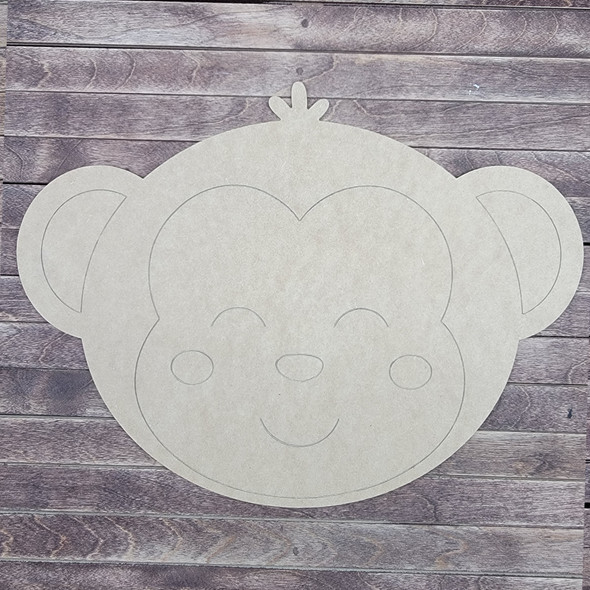 Baby Monkey Head, Wood Craft Design, Paint by Line