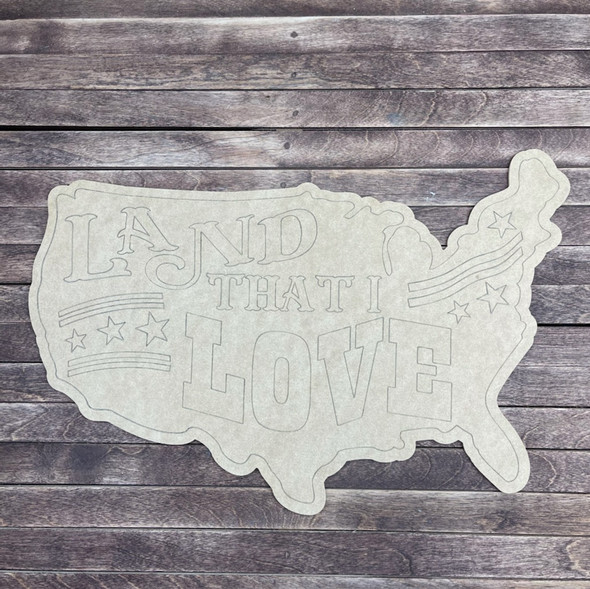 Land That I Love USA, Paint by Line, Wood Craft Cutout