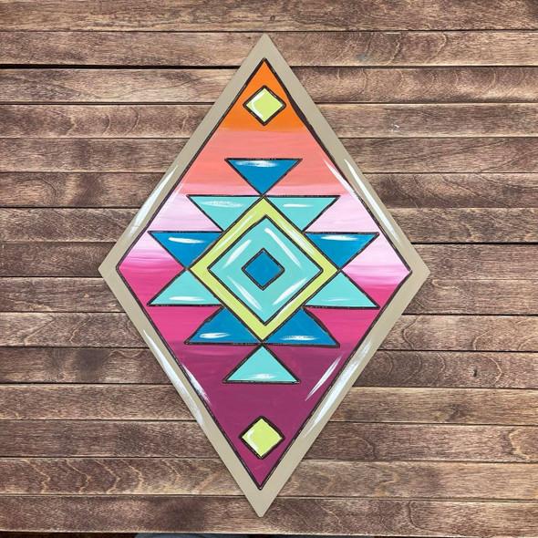Diamond Shape, Paint by Line, Boho Style Wood Craft Design