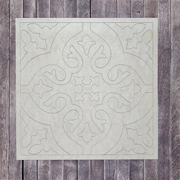 Elegant Spanish Tile Boho Art Square Shape, Paint by Line, Wood Craft Design
