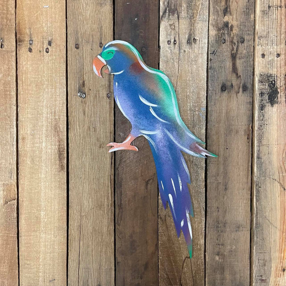 Parrot With Long Tail, Wooden Shape Unfinished Cutout, Paintable MDF Craft
