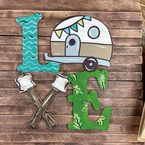 Love Camper with roasted marshmallows, Wooden Shape Unfinished Cutout Design