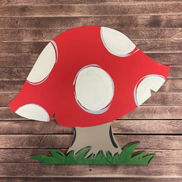 Fly Agaric Mushroom Shape, Paint by Line, Unfinished Wood Craft Design