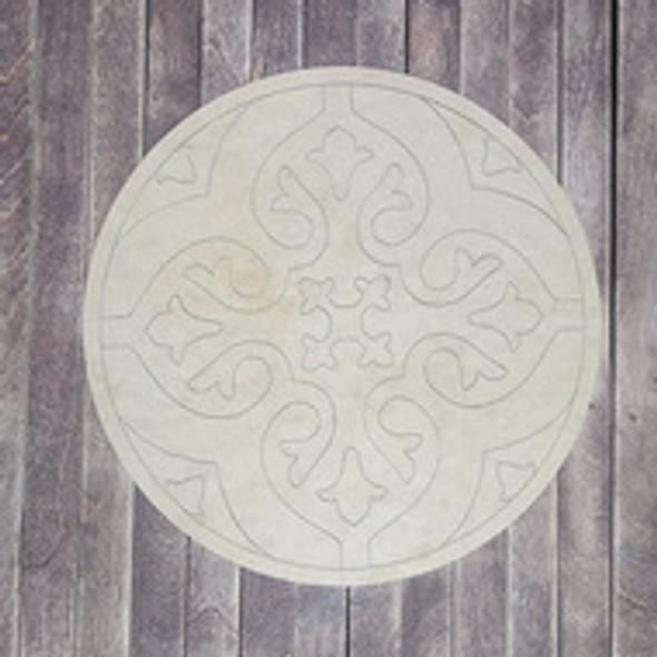 Elegant Spanish Tile Boho Art Circle Shape, Paint by Line, Wood Craft Design