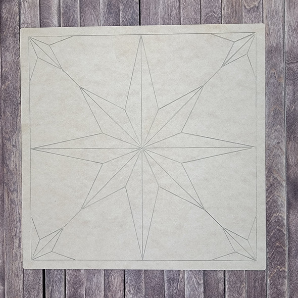 Compass Rose Geometric Style Art Square Shape, Paint by Line, Wood Craft Design
