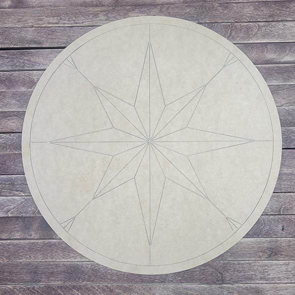 Compass Rose Geometric Style Art Circle Shape, Paint by Line, Wood Craft Design