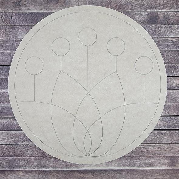 Lotus Blossom Circle, Wood Cutout, Shape, Paint by Line