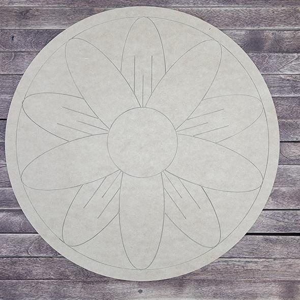 Lily Pad Geometric Circle, Wood Cutout, Shape, Paint by Line