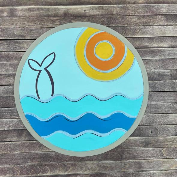 Sea Landscape Circle Design, Wood Cutout, Shape, Paint by Line