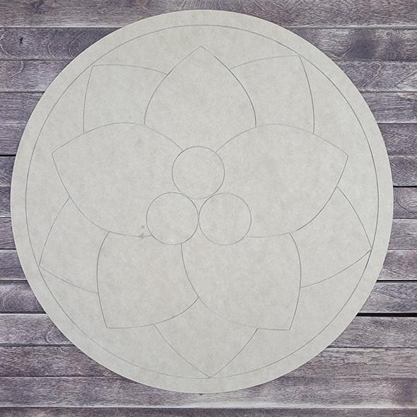 Poinsettia Circle Design, Wood Cutout, Shape, Paint by Line