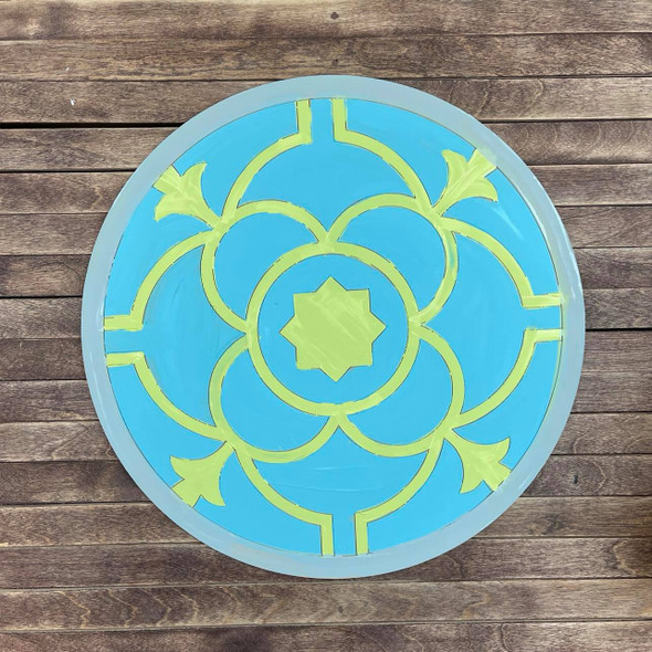 Ceramic Tile Circle Design Boho Style, Paint by Line, Wood Craft