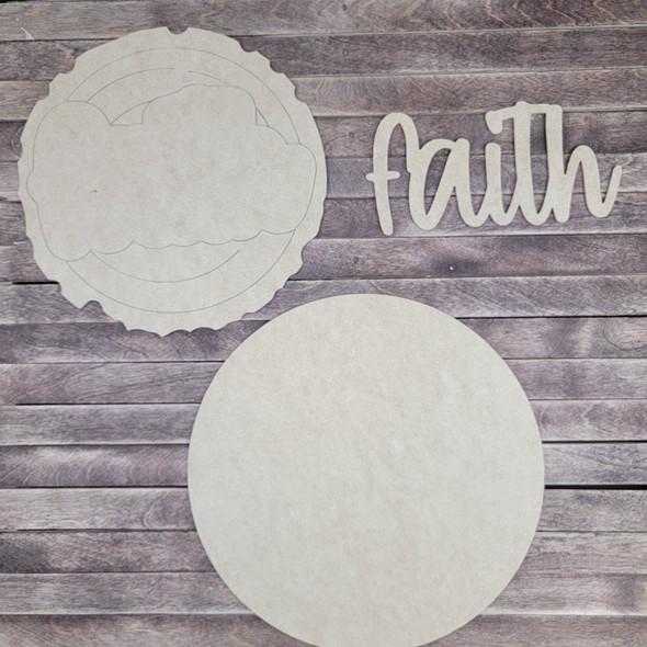 "14"" Faith Wood Slice Stacked Décor Kit, Unfinished 3 Piece Set"