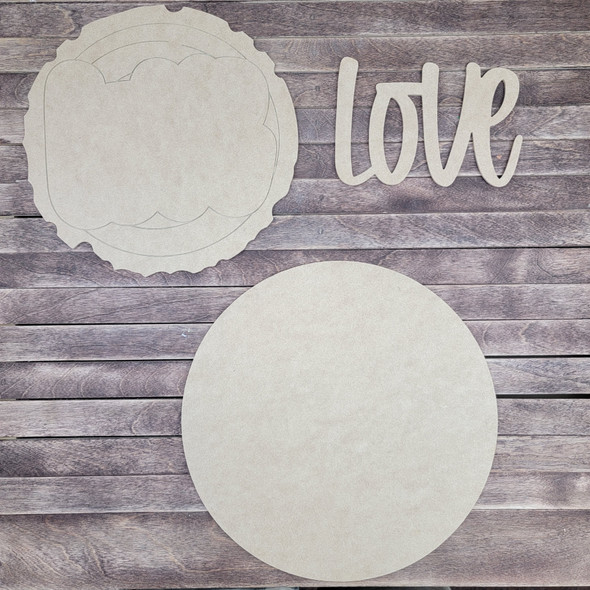 """14"""" Love Wood Slice Stacked Décor Kit, Unfinished 3 Piece Set"""
