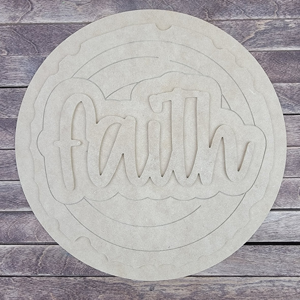 "18"" Faith Wood Slice Stacked Décor Kit, Unfinished 3 Piece Set"