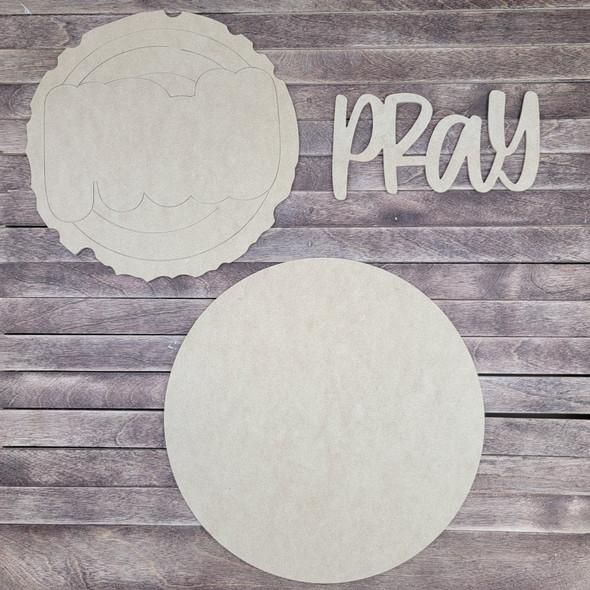 "18"" Pray Wood Slice Stacked Décor Kit, Unfinished 3 Piece Set"