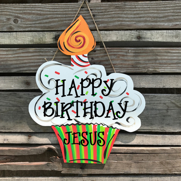 Birthday Cupcake with Candle Unfinished Cutout, Wooden Shape, Paintable MDF DIY Craft