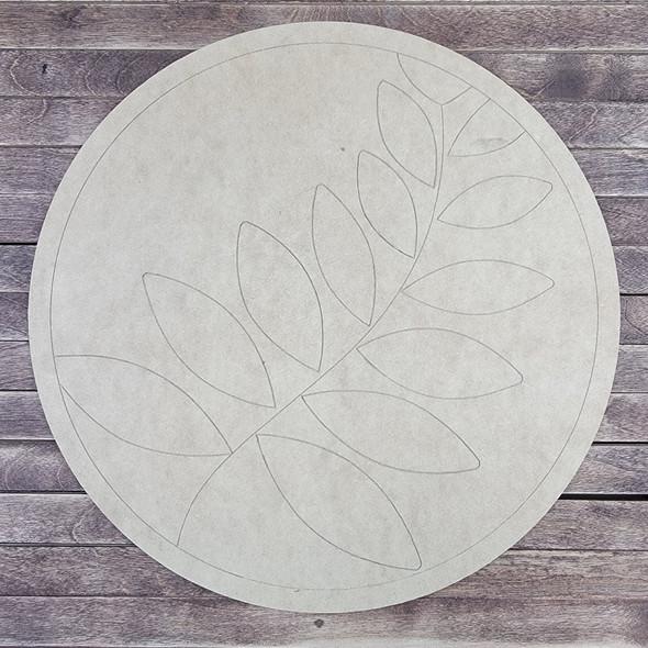 Fern Decorative Circle Pattern, Paint by Line, Wood Craft Design