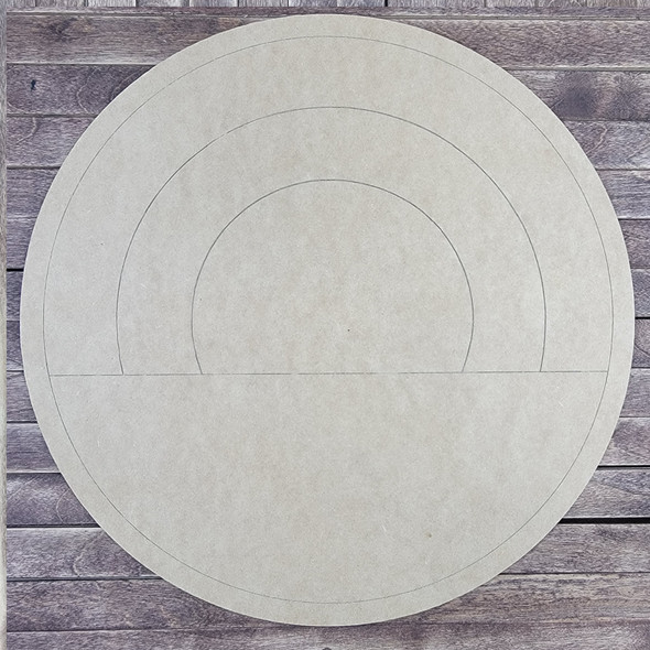 Rainbow Design Circle, Paint by Line, Wood Craft Cutout