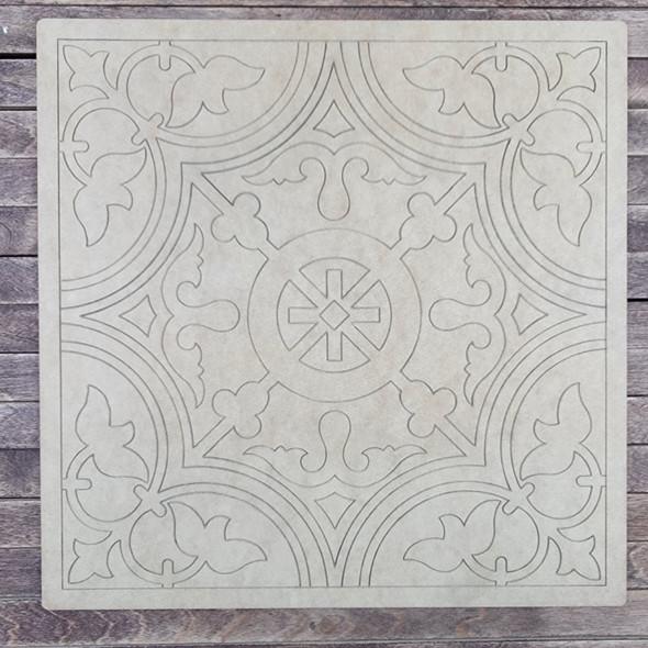 Hidalgo Pattern Square Shape, Paint by Line, Wood Craft Cutout