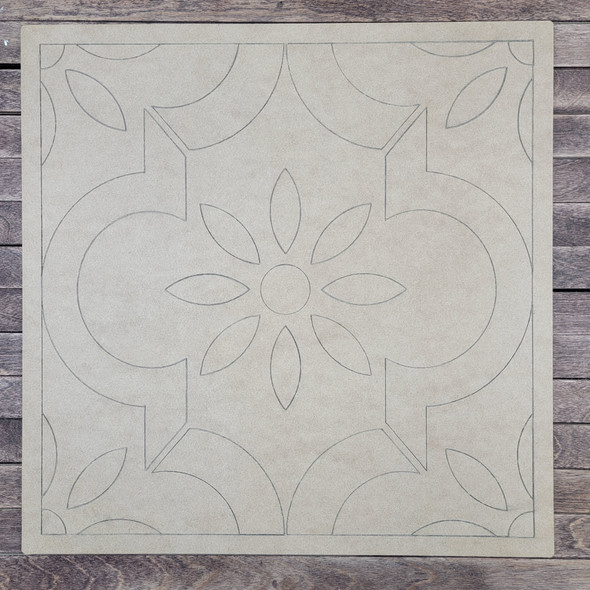 Rosario Square Design Shape, Paint by Line, Wood Craft Cutout