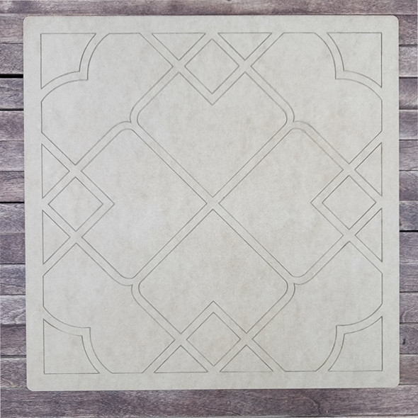 Lucca Pattern Square Shape, Paint by Line, Wood Craft Cutout