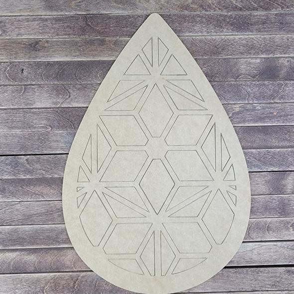 Driblet Shape Geometric Art Design, Paint by Line, Wood Craft Cutout