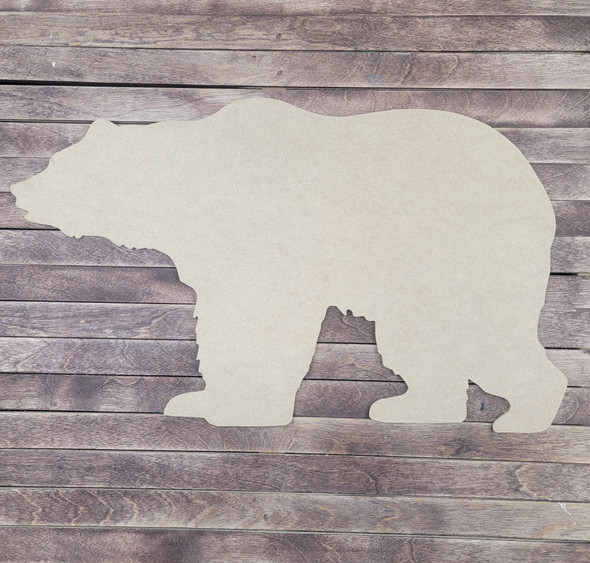 Grizzly Bear Design, Wood Craft Cutout, Paintable MDF Craft