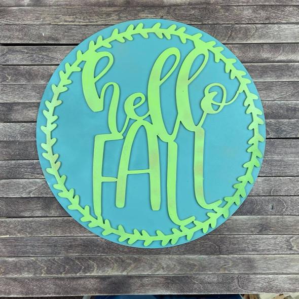 Hello Fall 2 Piece Stack Set, Unfinished Wood Craft Cutout