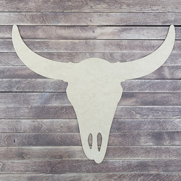 Bull Skull Head Shape Design, Wood Craft Cutout, Paintable MDF Craft
