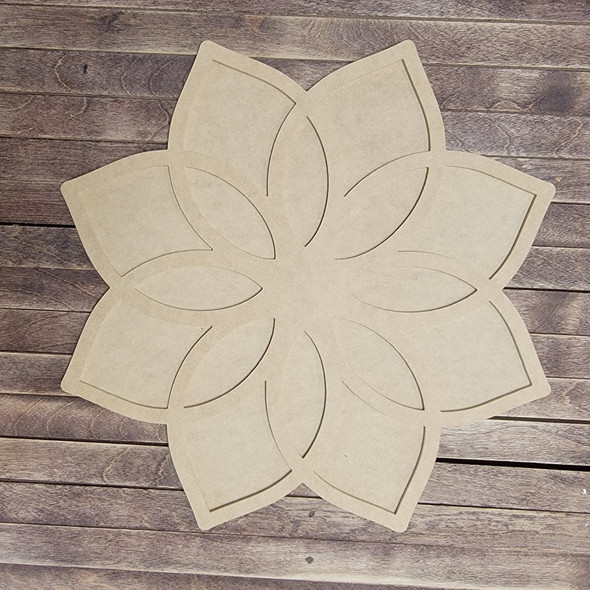 Floret Flower Layered Art 2 Piece Design, Unfinished Wood Cutout