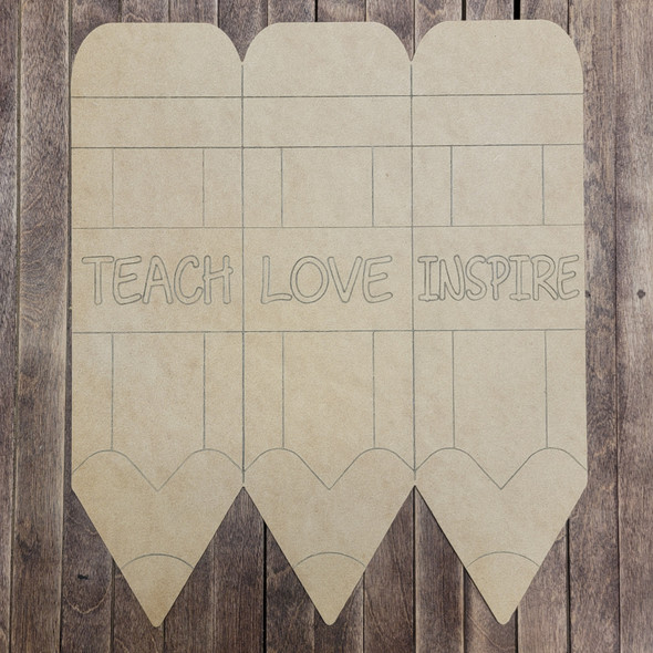 Teach, Love, Inspire Pencil Shape Design, Back to School Paint by Line, Wood Craft Cutout