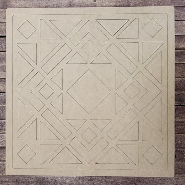 Amapola Azul Square Shape Design, Paint by Line, Wood Craft Cutout