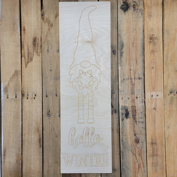 Hello Winter Tall Gnome Sign, Paint by Line, Unfinished Large Pine Yard Display Art, Photo Prop