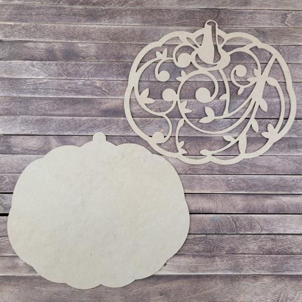 2 Piece Pumpkin Set, Unfinished Wood Craft Cutout
