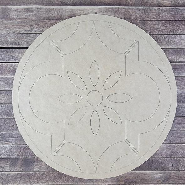 Blue Lace Circle Design, Paint by Line ,Design Wood Craft Cutout