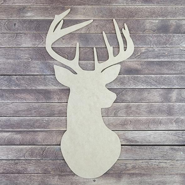 Deer Head Shape, Wood Craft Cutout Paintable MDF Craft