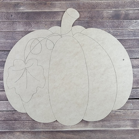 Pumpkin With Leaf, Paint by Line ,Wood Craft Cutout
