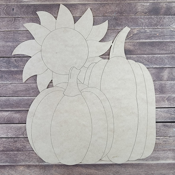 Pumpkins With Sunflower, Paint by Line ,Wood Craft Cutout