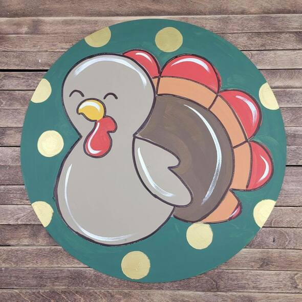 Thanksgiving Turkey Circle Shape, Paint by Line ,Design Wood Craft Cutout