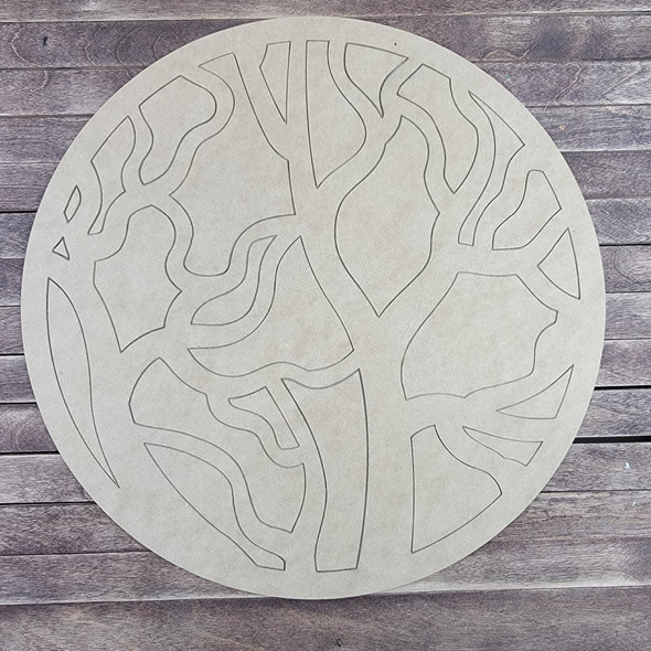 Enchanted Forest Art Pattern, Paint by Line, Wood Craft Circle Cutout
