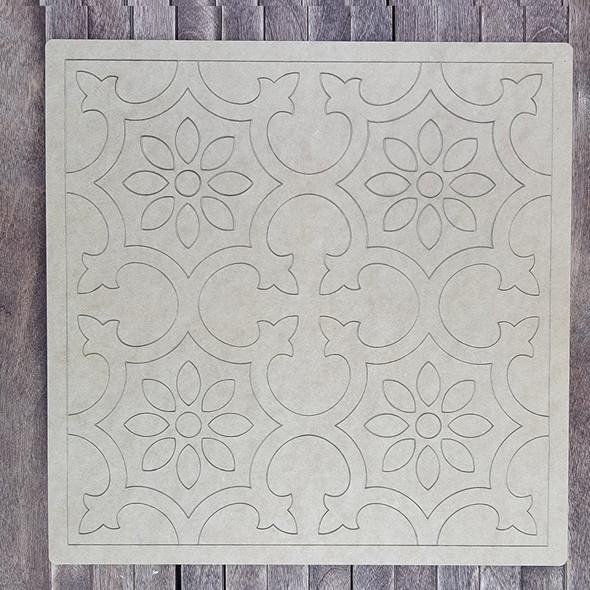 Blue Lace Square Design, Paint by Line ,Design Wood Craft Cutout