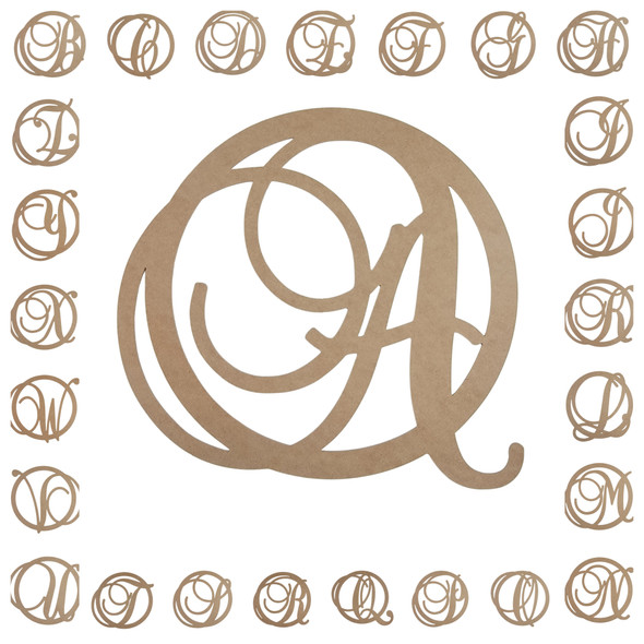 Fancy Script Circle Initial Letter Wooden Unfinished DIY Craft