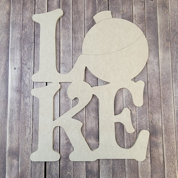 Lake Fishing Cork Bobber Shape Phrase, Wood Craft Design Paintable MDF